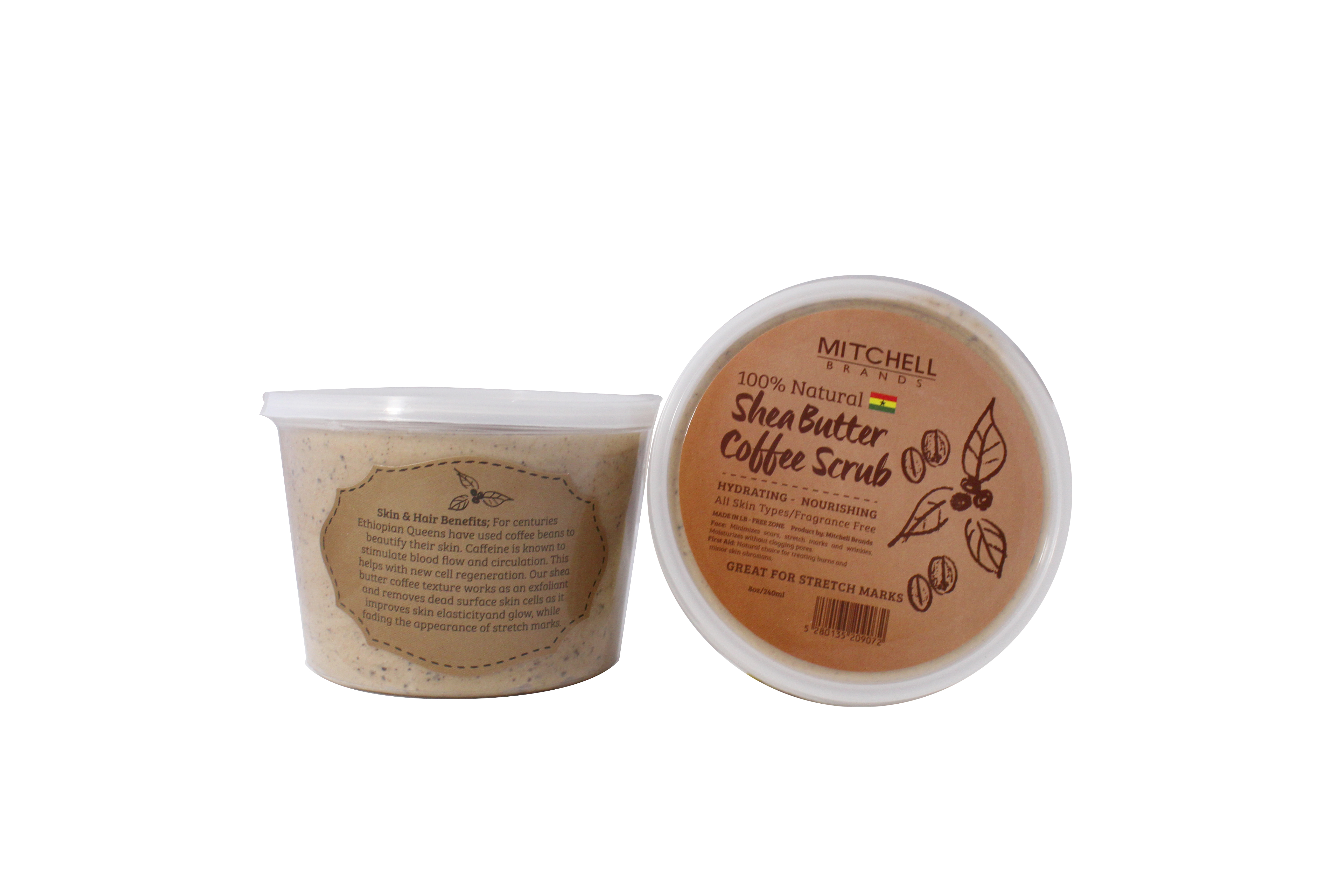 100% Natural Shea Butter Jar Enhanced With Coffee Scrub 8oz and 13.5oz