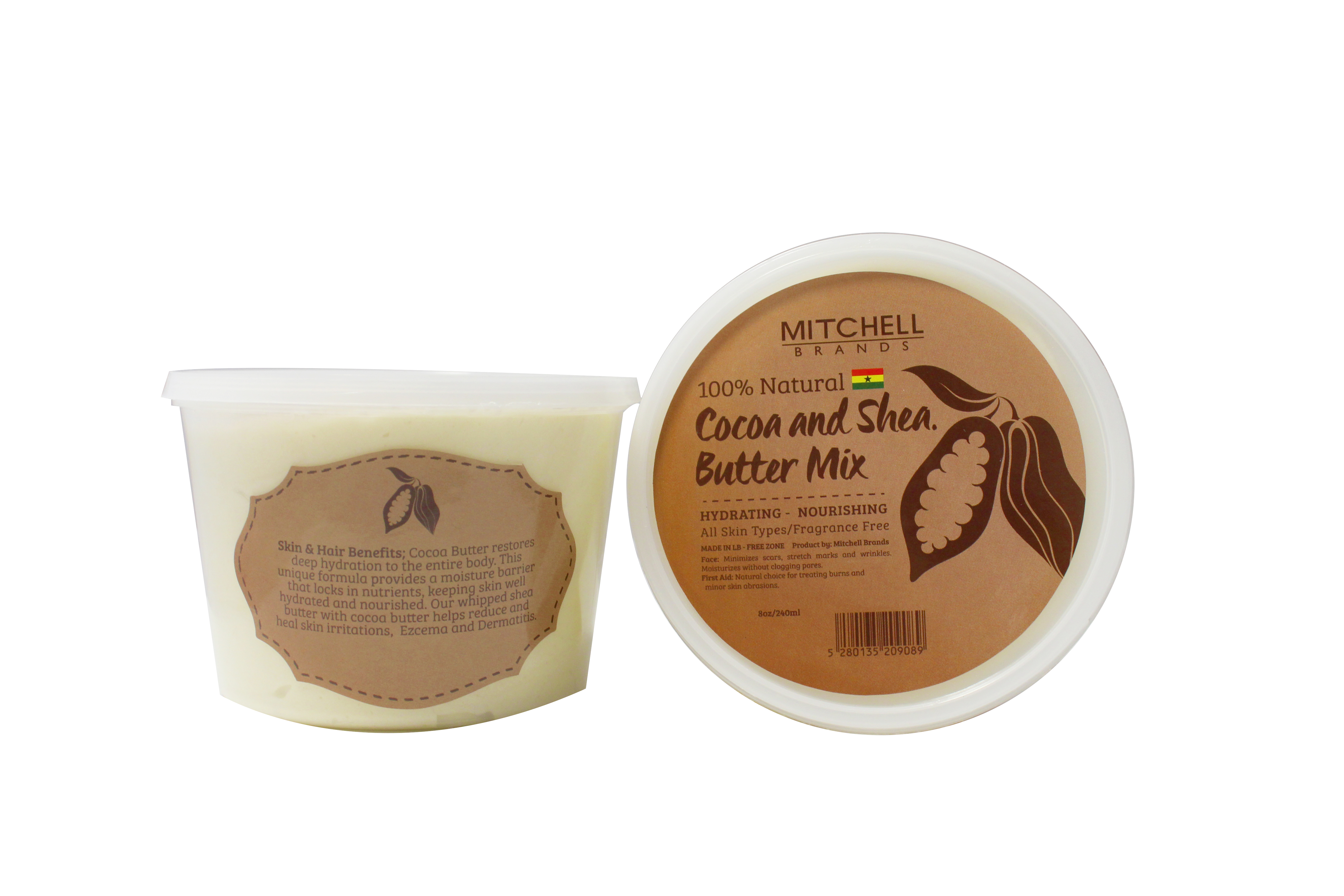 100% Natural Shea Butter Jar Enhanced With Cocoa 8oz & 13.5oz